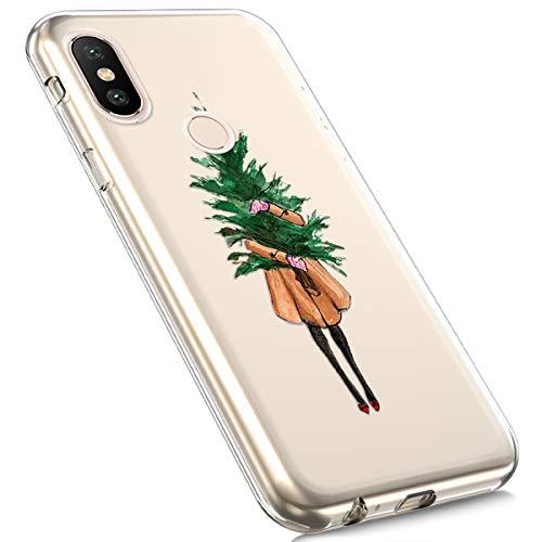 MoreChioce Coque Xiaomi MI A2 Lite,Coque Xiaomi MI A2 Lite Transparente, Transaprent Silicone Cerf Noël Neige Christmas Souple Anti-Rayures Flexible Bumper pour Xiaomi MI A2 Lite,Arbre Noël Fille