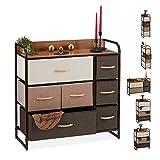 Relaxdays Mueble Modular, 7 Cajones deslizantes, Balda, Cestas Plegables, Cómoda de Tela, 79 x 80 x 31,5 cm, Marrón, c