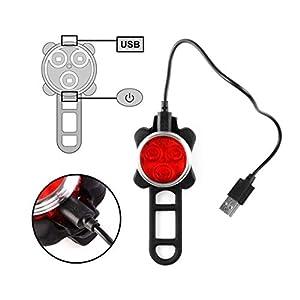Ozvavzk LED Luz Delantera y Trasera Bicicleta Lámpara Impermeable Clip/Correa Silicona con 2 cable USB 4 modo 650mAh Reflector Bici Seguridad faro de señal