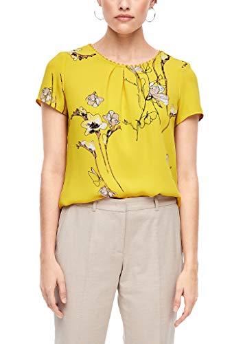 s.Oliver BLACK LABEL Damen 01.899.12.5530 Bluse, Yellow Flowers Print, (Herstellergröße: 46)