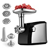 Flexzion Electric Meat Grinder 1600 Watt Heavy Duty Sausage Stuffer Mincer w/ 3 Grinding Plates 2 Carbon Steel Cutting Blades & Attachment Kit/f Homemade Ground Minced Beef, Kubbe, Meat Patties