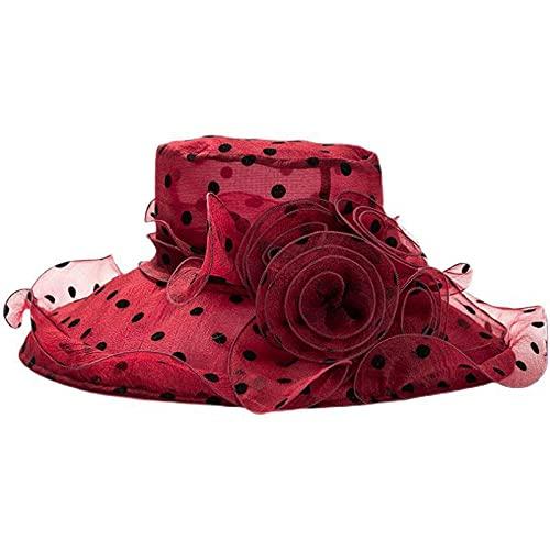 Geekcook Sombrero Mujer Elegante,Nuevas Damas de sombrilla en Verano, Grande, Movimiento Solar, Capucha, Cabina Salvaje, Transpirable, Fresco, Plegable, Sombrero de Sol-Vino Tinto_Un código (56-58cm)