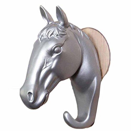 Wanshop Home cucina ganci appendiabiti da parete pezzo decorativo in resina arredamento moderno piccolo cavallo ganci da parete gioielli chiavi appendini Silver
