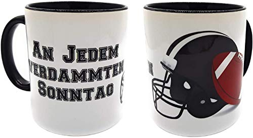 Kilala Super Bowl Tasse Football mit lustigem Spruch An jedem verdammten Sonntag Geschenk Fan Tasse inkl. Geschenkverpackung (Spruch, Helm, Ball)