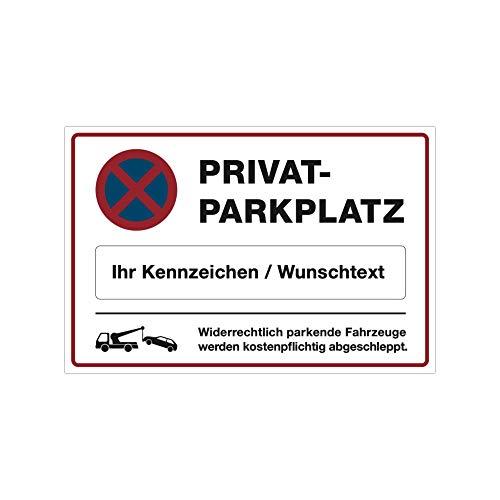 stempel-fabrik Hinweis-Schild für Privatparkplatz mit individuellem Kennzeichen oder Text 300x200x4 mm (Amazon Custom) (Weiss, Schild Alu-Verbund 300x200x4 mm)