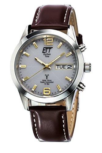 ETT Eco Tech Time Funk Solar Herren Uhr Analog mit Leder Armband EGS-11248-12L