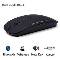 Bluetooth 5.0 + 2.4GHzワイヤレスデュアルモード2 1コードレスマウス1600 DPI超薄型人間工学的携帯用光マウス (色 : Dual mode black)
