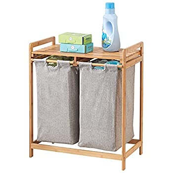mDesign Bamboo Wood Double Laundry Hamper - Storage System with Top Shelf to Organize Detergent Liquid Fabric Softener Bleach Dryer Sheets Stain Removers - Large Capacity - Natural Finish