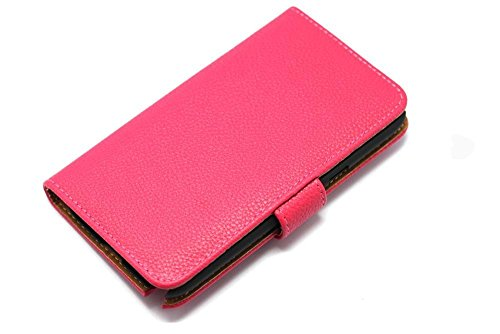 Leather Wallet Case with Stand and Credit Card Holder for Samsung Galaxy Note 2 II N7100 - Hot Pink