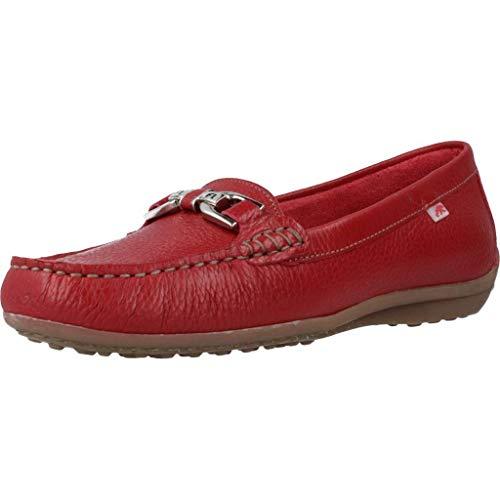 Fluchos | Zapato de Mujer | Bruni F0804 Floter Rojo | Zapato de Piel | Cierre con Mocasín | Piso de Goma