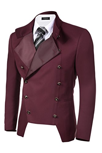 COOFANDY Men's Casual Double-Breasted Jacket Slim Fit Blazer (X-Large, Dark Red(FBA))