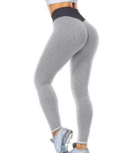 KIWI RATA Mallas Push up Mujer Leggins Deportivos Yoga Leggings de Cintura Alta Pantalones Deporte para Fitness Running Elásticos y Transpirables (Gris #, M)