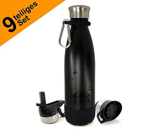 STORMHORN Edelstahl Trinkflasche Isolierflasche Wasserflasche mit Zubehör, 500ml, 3 Verschlüsse, Karabiner, Trinkhalme