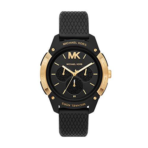 Michael Kors Women's Ryder Stainless Steel Quartz Watch with Rubber Strap, Black, 20 (Model: MK6701)