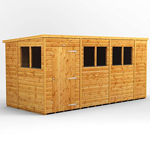 POWER Sheds 14 x 6 wooden shed. 14x6 pent wooden garden shed.