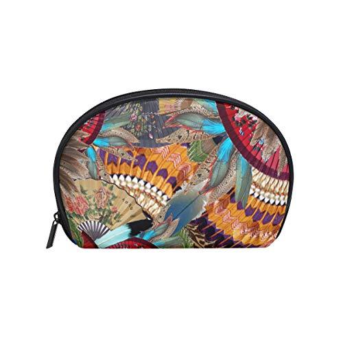 Bolsa de maquillaje plegable con patrón de abanico, bolsa de maquillaje en forma de concha de mar bolsa de viaje práctico organizador para mujeres