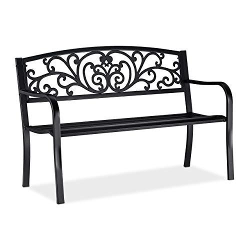 Relaxdays, noir jardin, Banc extérieur, balcon, 2 places, fer, ornements, Fonte, acier 86,5x127x60 cm