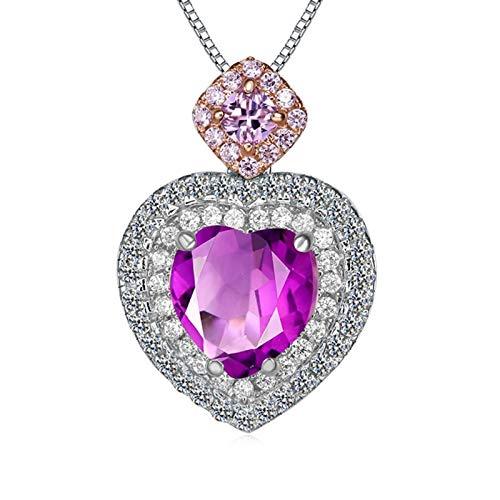KnSam - Collar de Moda para Mujer con Colgante de corazón y Amatista, Color Morado