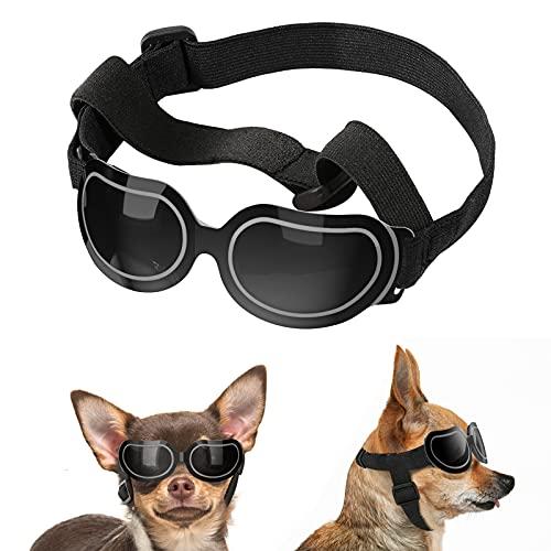Lewondr Sonnenbrille für Hunde UV Schutzbrille, Hunde Winddichte & Antibeschlagbrille & Wasserdichter Hundebrille mit Einstellbar Gummiband, Sonnenbrillenspiegel für Kleine Hunde - Schwarz