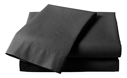 Just Contempo Uni Drap-Housse Uni Ppercale, Polycoton, Noir, Simple