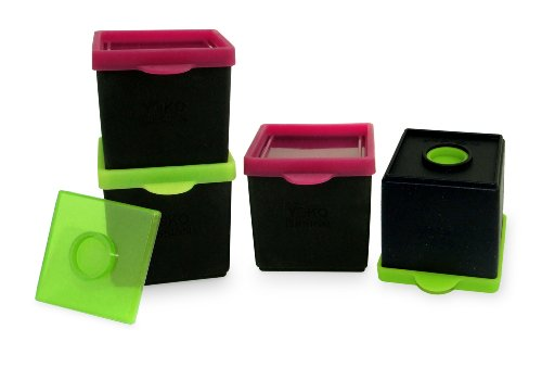YOKO DESIGN 1227 Lot de boites de Conservation, Silicone/Platine, Vert/Fuchsia/Noir