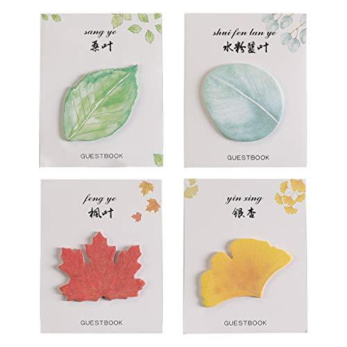 Qirun 4 Piezas Hojas Creativas Bloc de Notas Notas Adhesivas Almohadillas de Escritura Etiquetas Pegatinas de Marca