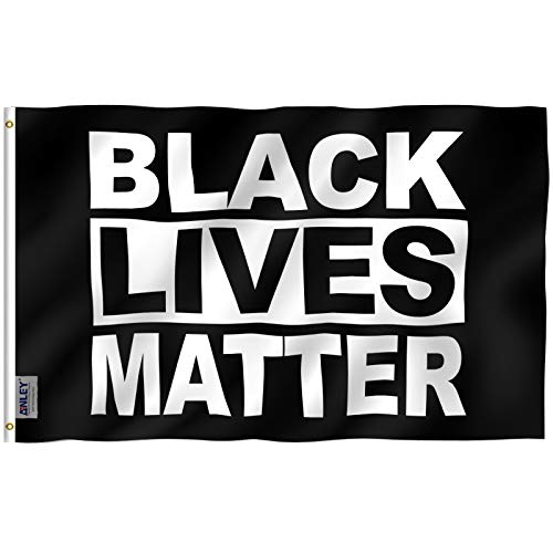 Anley Fly Breeze 3x5 Feet Black Lives Matter Flag - Vivid Color and Fade Proof - Canvas Header and Double Stitched - BLM Flags Polyester with Brass Grommets 3 X 5 Ft