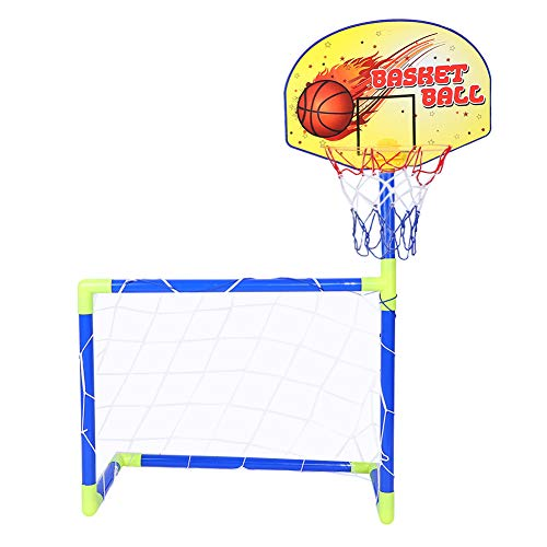 Dilwe Basketball und Fußball Sport Tor Sets, tragbare Kinder Fußballtor Basketballboard Kit mit kompletter Zubehör für Kinder Spielzeug Geschenk