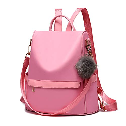 Women Daypack Backpack Lightweight Stylish Purse Waterproof Nylon or PU Leather Fashion Shoulder Bag Anti-theft Travel Daypack Rucksack (M, Pink1)