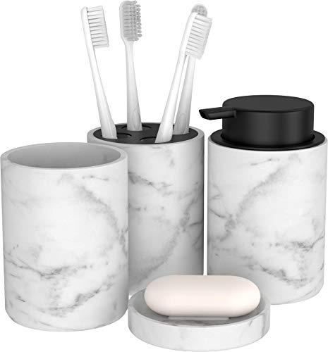 BonVivo Marmora Badezimmer Set, luxuriöses Badezimmer Zubehör, stilvolles Bad Set oder WC Set, Edles Bad Zubehör und Seifenspender in Marmor-Optik - schwarz
