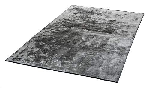 mimilos Kurzflor Teppich für Wohnzimmer-Dekorativer Baumwolle und Viskose Teppich - Teppich für modern Wohnung Dekoration-Teppich für Schlafzimmer,Esszimmer,Kinderzimmer(Silver, 160 x 230 cm)
