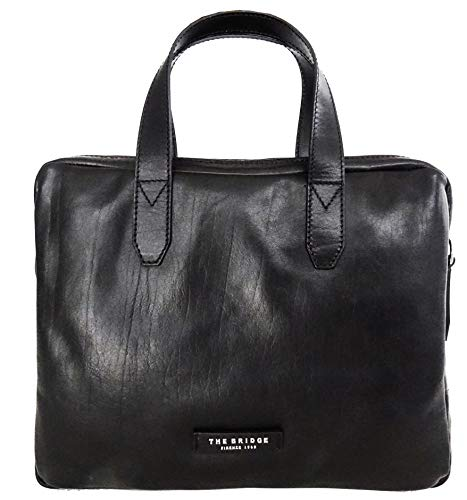 The Bridge Cartella Ventiquattrore briefcase pelle borsa tracolla porta Pc 14' apertura zip uomo nero Cm 39x30x6 cm 46407101