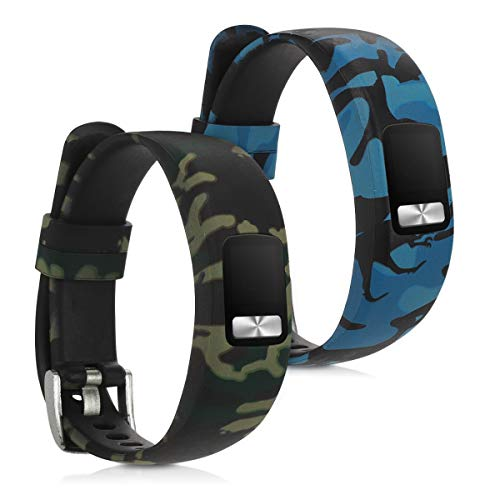 orologio fitness vívofit 4 kwmobile 2X Cinturino Silicone TPU Compatibile con Garmin Vivofit 4 - Fascia Gommata Smart Watch - Camouflage Nero/Verde Chiaro/Verde Scuro