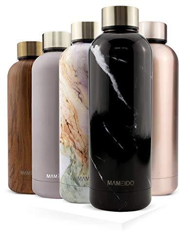 MAMEIDO Trinkflasche Edelstahl - Marmor Schwarz - 500ml, 0,5l Thermosflasche - auslaufsicher, BPA frei - schlanke isolierte Wasserflasche, leichte doppelwandige Isolierflasche