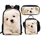 Bolsas escolares para perros para niñas de 17 pulgadas con bolsa de almuerzo y estuche para lápices para adolescentes