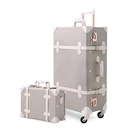 Unitravel Vintage Suitcase Set 26 inch PU Leather Spinner Luggage with 12 inch Train Bag for Women (Light Gray)