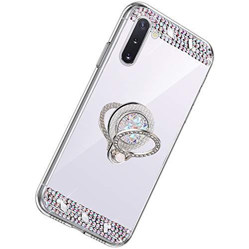 Herbests Kompatibel mit Samsung Galaxy Note 10 Hülle Glitzer Kristall Strass Diamant Silikon Handyhülle mit Ring Halter Ständer Schutzhülle Überzug Spiegel Clear View Handytasche,Silber
