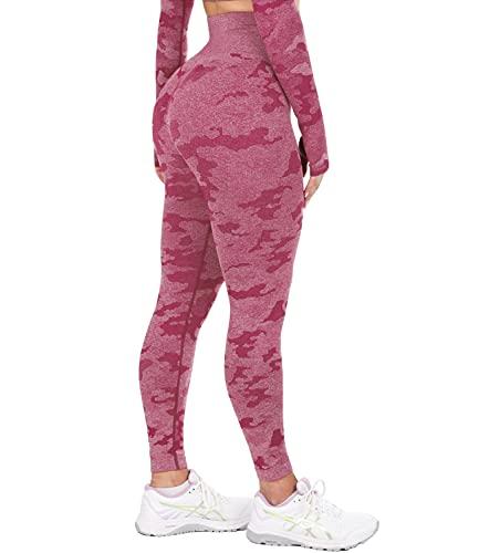 DUROFIT Damen Camo Camouflage Tarnmuster Nahtlose Yoga Leggings Hohe Taille Sport Lange Blickdicht LeggingsWinerot L