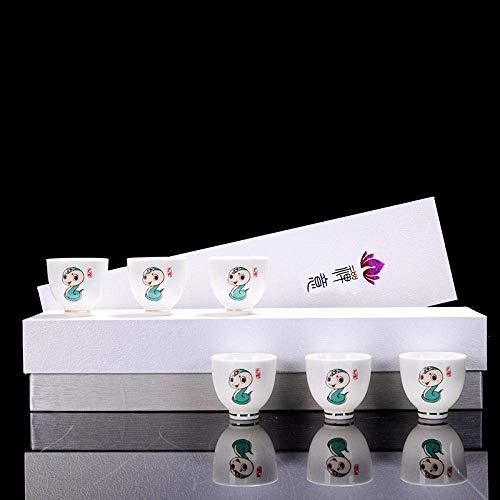 XYSQWZ Juego De Té De Porcelana Blanca Taza De Té Maestra del Zodíaco Chino Copa De Vino Pequeña Regalo Práctico para Empresas Logotipo Personalizado 12 Taza del Zodiaco Serpiente