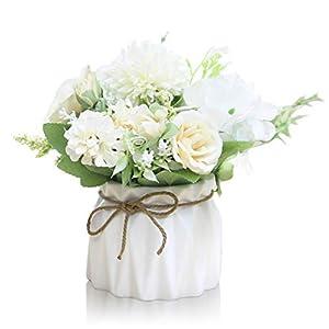 Keleily Flores Artificiales Hortensias con Ceramica Jarrón Flores Artificiales Decoracion con Macetas Pequeñas Ceramica…