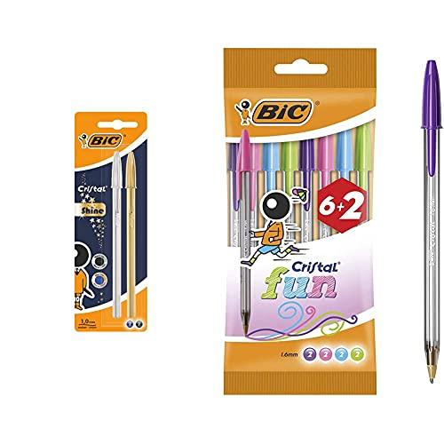 Bic Celebrate Cristal Shine Bolígrafos Punta Media Cuerpo Y Colores Surtidos + Cristal Fun Bolígrafos Punta Ancha – Colores Surtidos, Blíster De 6+2 Unidades