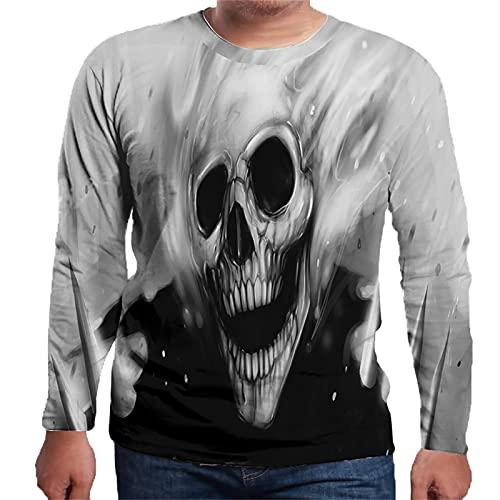 YingeFun Halloween Costumes Men Alternative Pullover Long Sleeves Tops Skull Print Sweatshirt Aldult Teens Stylish Top Black