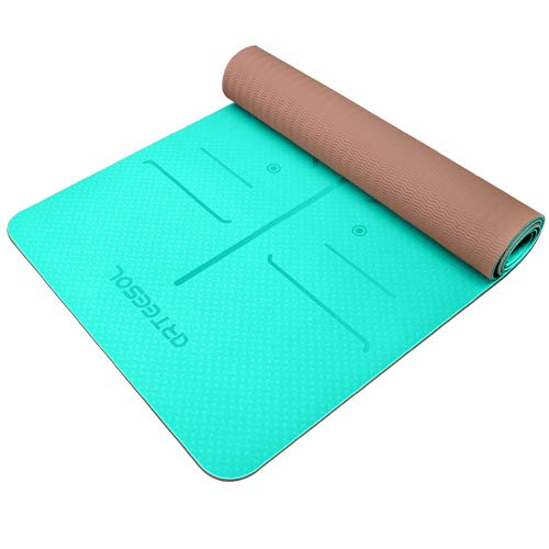 arteesol Yoga Mat, Non-Slip 6mm Thick Large Fitness Mat, Anti-Tear Eco Friendly Exercise Mat with Carry Straps, Premium for Pilates, Fitness, Women and Men 183 cm x 61 cm x 6 mm (Oceanblue+Brown)