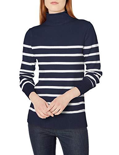 Amazon Essentials Long-Sleeve 100% Cotton Roll Neck Sweater Suéter, Rayas Blancas y Azul Marino, M