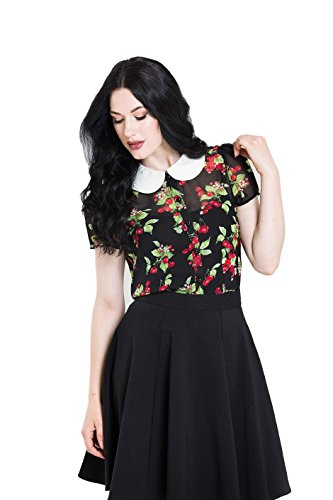 Hell Bunny Cherie Sheer Vintage Retro 40's 50's Cherry Blouse - Black (XL)