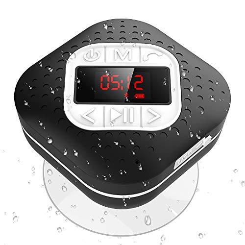 Waterproof Bluetooth Shower Speaker Radio with LED Screen, AGPTEK Portable Wireless Speaker with Redial Last Call and Handsfree Function for Bathroom, Pool, Car, Beach,Black