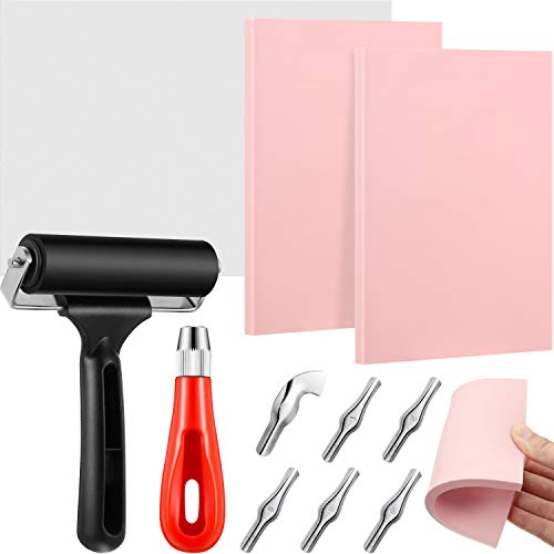 Rubber Stamp Making Kit, Linoleum Cutter with 6 Types Blades, Tracing Paper, 2 Pieces Pink Rubber Carving Block, Brayer Roller, Rubber Stamp Carving Tools for Craft Stamp Carving