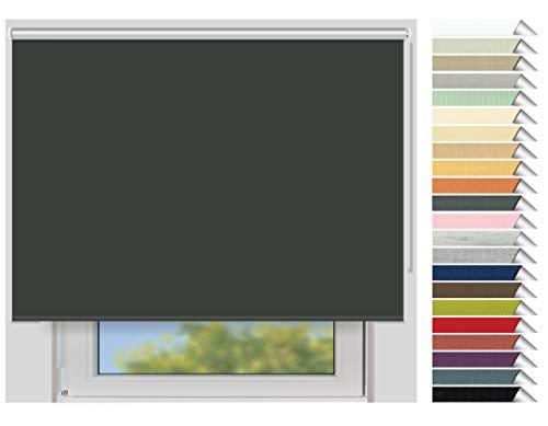 EFIXS Thermorollo Maxi - 32 mm Welle - Farbe: dunkelgrau (061) - Breiten: 40-240 cm - Hier: 220 x 190 cm (Stoffbreite x Höhe) - Hitzeschutzrollo - Verdunklungsrollo