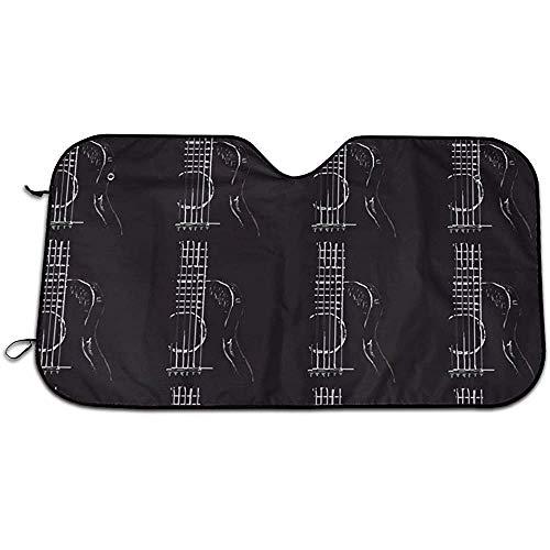 KDU Fashion voorruit schaduwmaker, muziek, akoestische gitaar Uvprotect voertuig voorruit parasols voor vrachtwagens motorvoertuigen, 70 x 130 cm