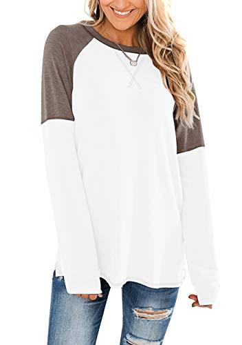 OMZIN Top de mujer de algodón, tops de color, transpirable, de verano, tallas XS-XL Cs-blanco M